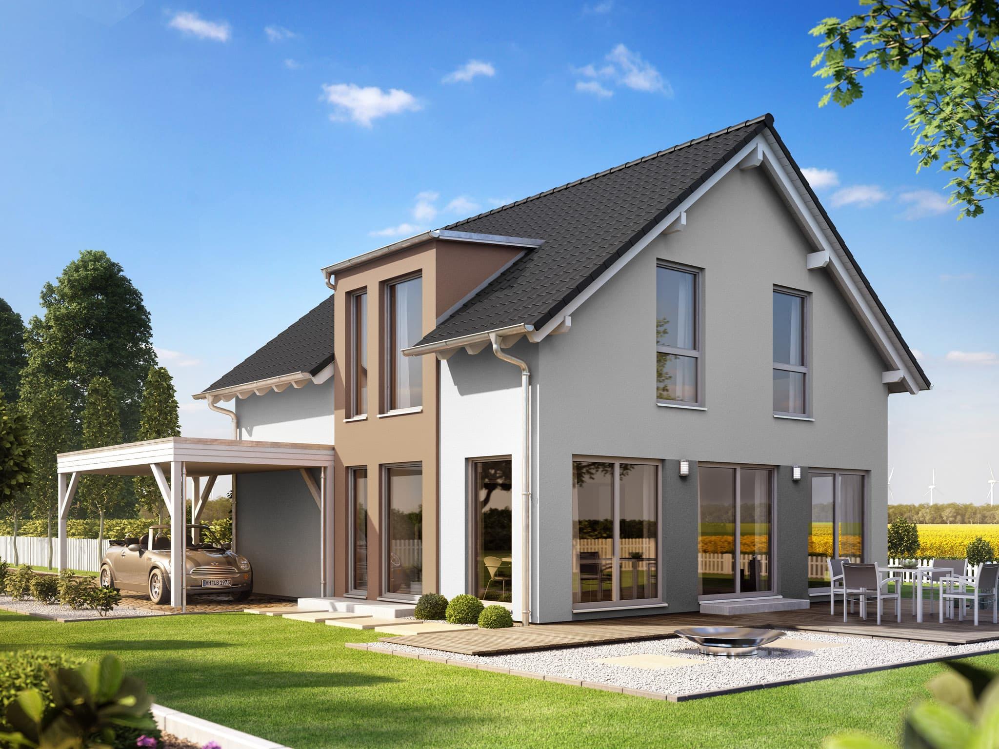 Fertighaus mit Satteldach & Carport, 5 Zimmer, 135 qm - Haus bauen Ideen Einfamilienhaus Living Haus SUNSHINE 136 V2 b - HausbauDirekt.de