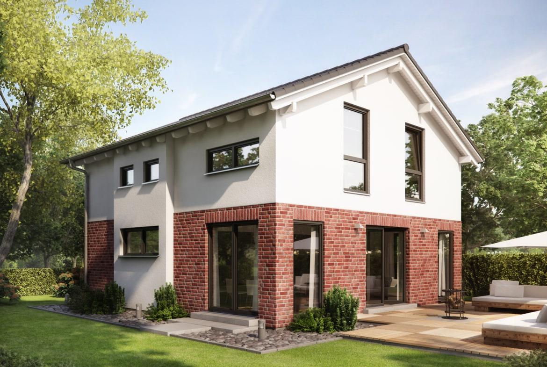 Fertighaus mit Satteldach & Klinker Putz Fassade, 5 Zimmer, 135 qm - Haus bauen Ideen Einfamilienhaus Living Haus SUNSHINE 136 V4 b - HausbauDirekt.de