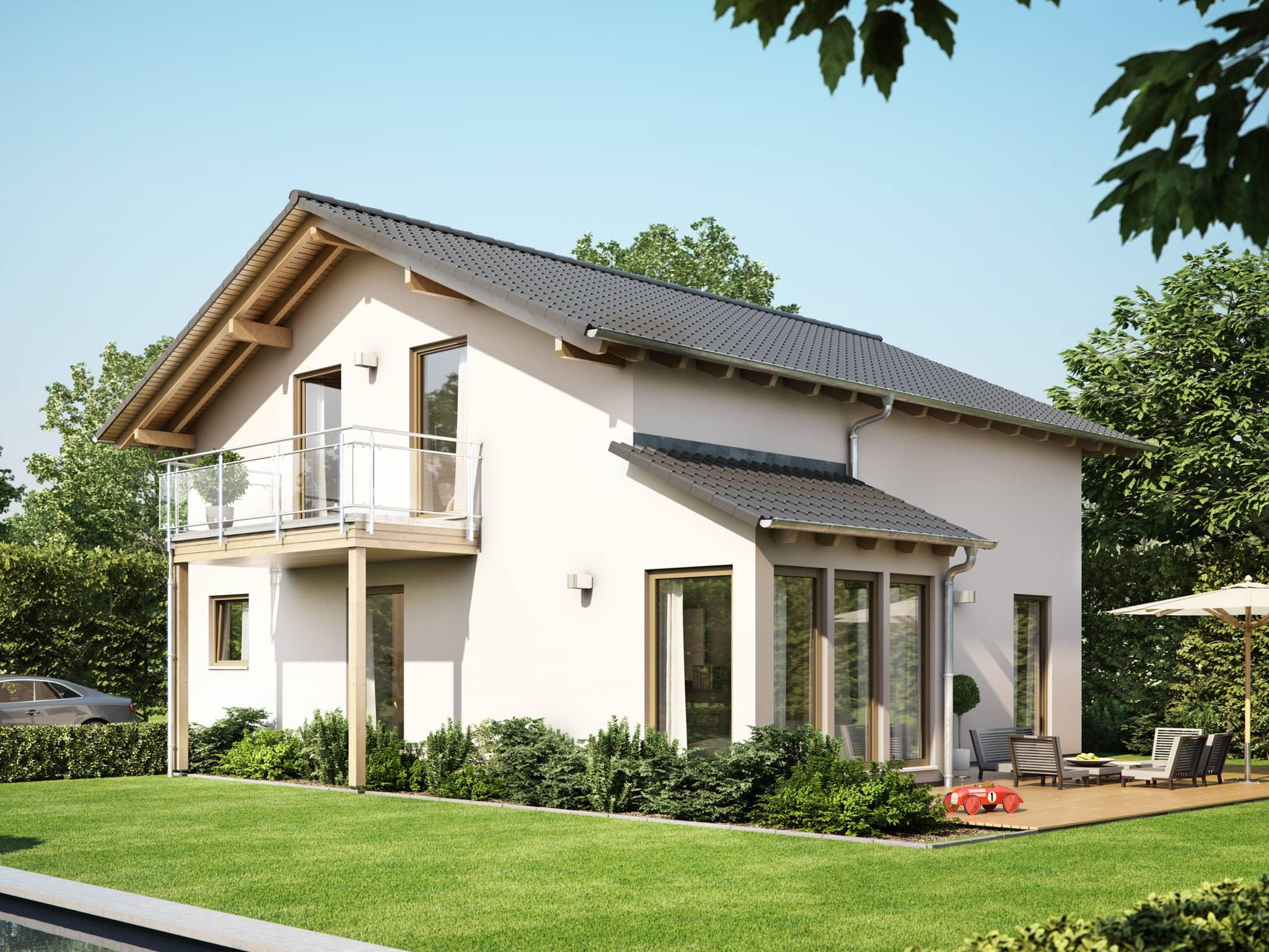 Fertighaus mit Satteldach, Wintergarten Erker & Balkon, 5 Zimmer Grundriss, 150 qm - Einfamilienhaus Neubau Living Haus SUNSHINE 151 V4 - HausbauDirekt.de
