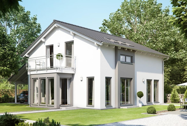 Modernes Fertighaus mit Satteldach, Wintergarten Erker & Balkon, 5 Zimmer Grundriss, 150 qm - Living Haus SUNSHINE 151 V5 - HausbauDirekt.de
