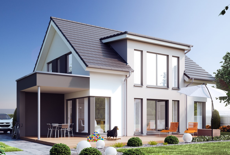 Fertighaus modern mit Satteldach & Galerie, 5 Zimmer Grundriss, 150 qm - Living Haus SUNSHINE 154 V2 - HausbauDirekt.de