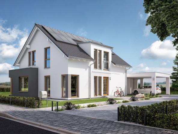 Fertighaus mit Satteldach, Doppelcarport & Erker, 5 Zimmer, 165 qm - Living Haus SUNSHINE 165 V2 - HausbauDirekt.de