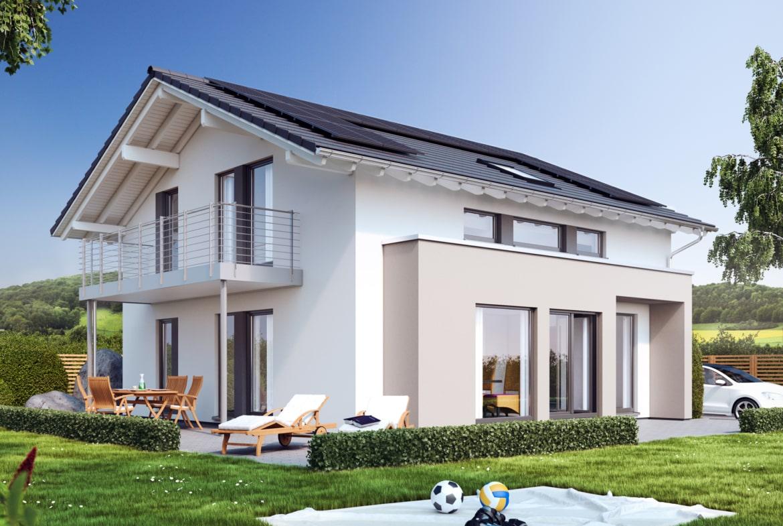 Fertighaus modern mit Satteldach flach, Erker & Balkon, 5 Zimmer, 150 qm - Living Haus SUNSHINE 154 V4 - HausbauDirekt.de