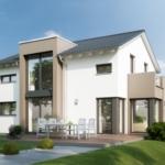 Fertighaus modern mit Satteldach, Quergiebel & Wintergarten Erker mit Balkon - Haus bauen Ideen Bien Zenker Einfamilienhaus EVOLUTION 134 V6 - HausbauDirekt.de