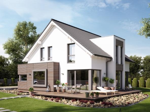 Einfamilienhaus modern mit Satteldach, Erker & Zwerchgiebel, 160 qm, 5 Zimmer - Haus bauen Ideen Bien Zenker Fertighaus FANTASTIC 161 V2 - HausbauDirekt.de