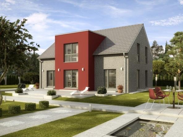 Fertighaus modern mit Satteldach, Klinker Fassade, Zwerchgiebel mit Flachdach, 170 qm, 6 Zimmer - Einfamilienhaus Kiefernallee Variante 1 von GUSSEK HAUS - HausbauDirekt.de