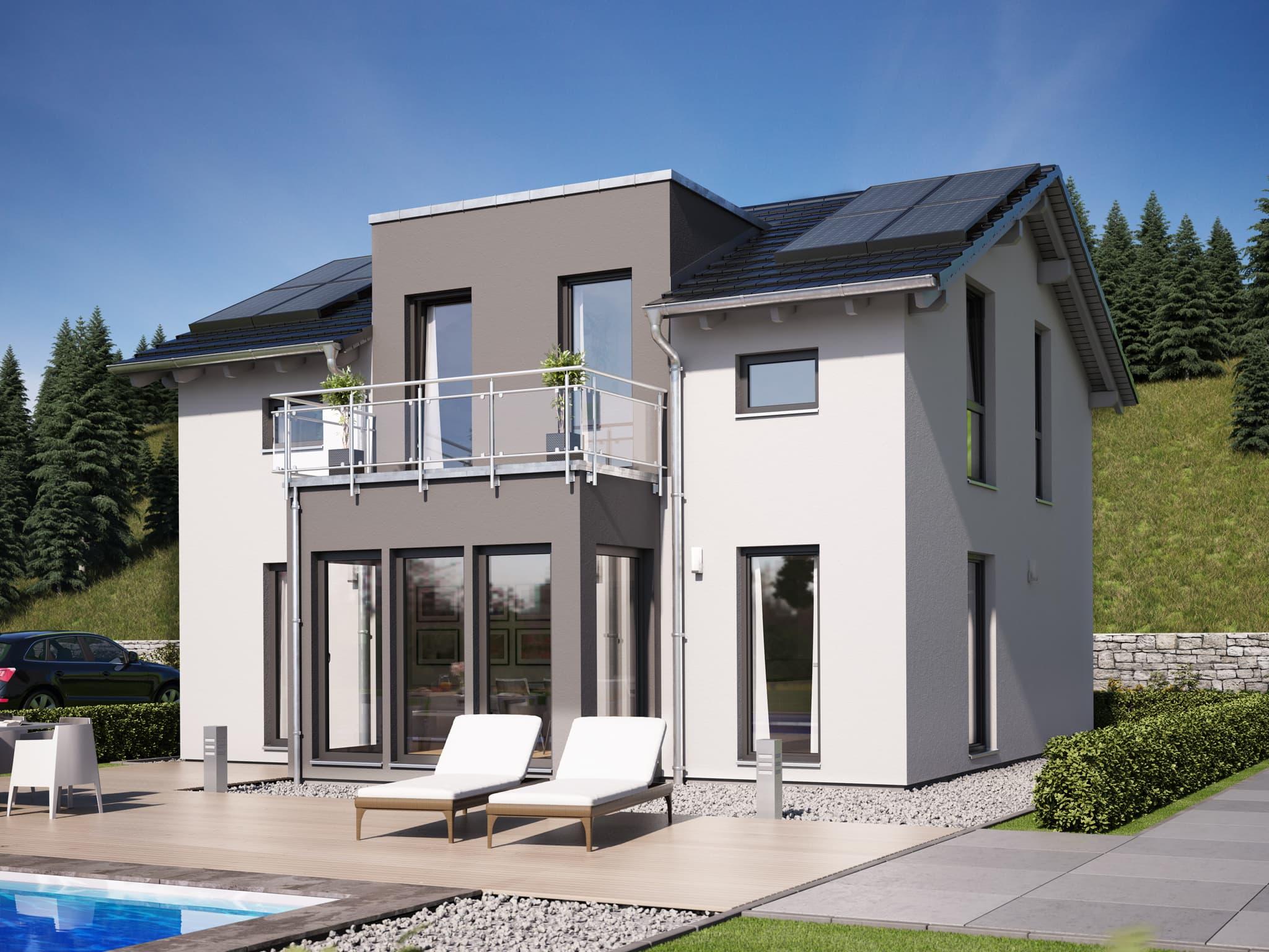 Fertighaus modern mit Satteldach Architektur, Zwerchgiebel, Wintergarten Erker & Balkon - Haus bauen Ideen Einfamilienhaus Living Haus SUNSHINE 125 V4 - HausbauDirekt.de