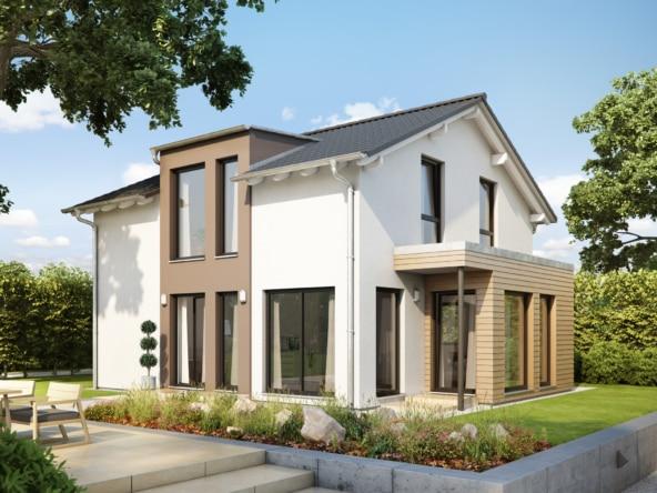 Fertighaus modern mit Satteldach, 4 Zimmer, 125 qm - Einfamilienhaus Neubau Living Haus SUNSHINE 126 V5 - HausbauDirekt.de