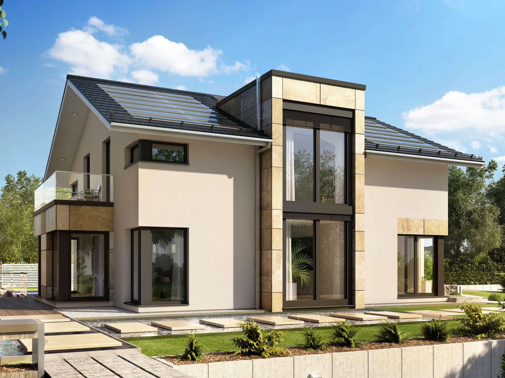 Einfamilienhaus modern mit Satteldach, 5 Zimmer Grundriss, 210 qm - Bien-Zenker Fertighaus CONCEPT-M Muenchen - HausbauDirekt.de
