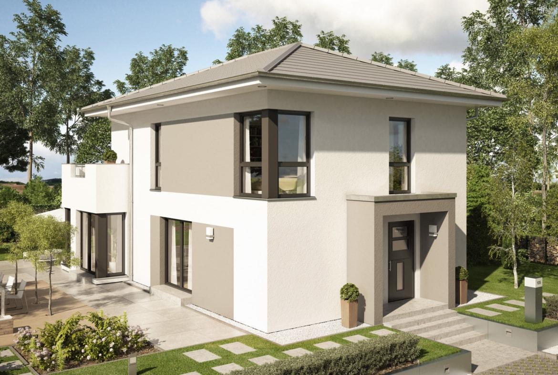Fertighaus modern mit Walmdach Architektur & Wintergarten Erker - Haus bauen Ideen Einfamilienhaus EVOLUTION 122 V11 von Bien Zenker - HausbauDirekt.de