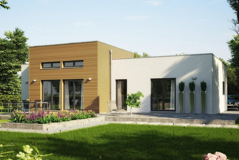 Fertighaus Bungalow modern im Bauhausstil mit Flachdach Architektur & Holz Putz Fassade - Haus ebenerdig bauen Ideen Bungalow AMBIENCE 111 V4 von Bien Zenker - HausbauDirekt.de