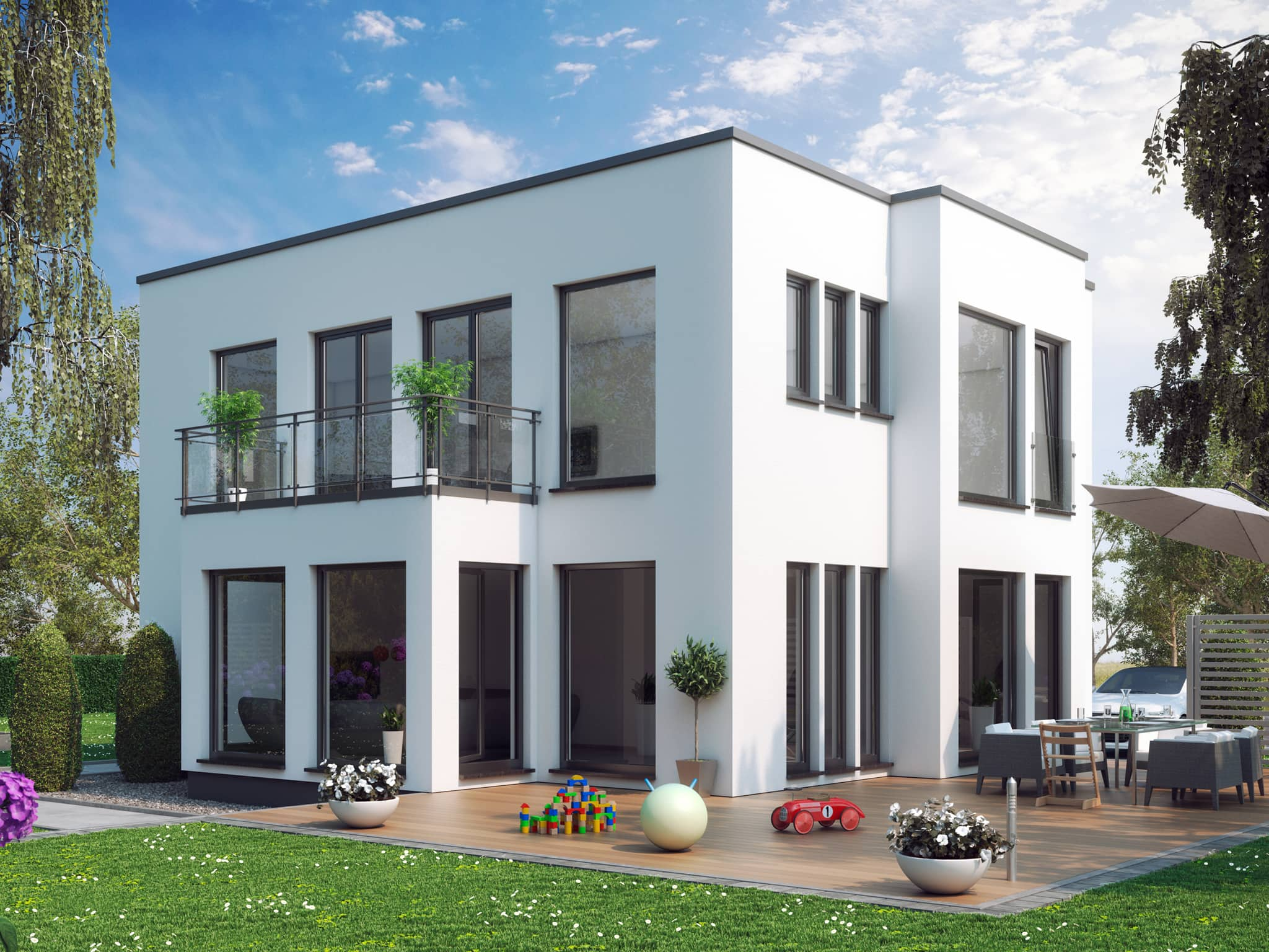 Stadtvilla modern mit Flachdach im Bauhausstil, Erker & Balkon, 5 Zimmer, 140 qm - Fertighaus Living Haus SUNSHINE 144 V7 - HausbauDirekt.de