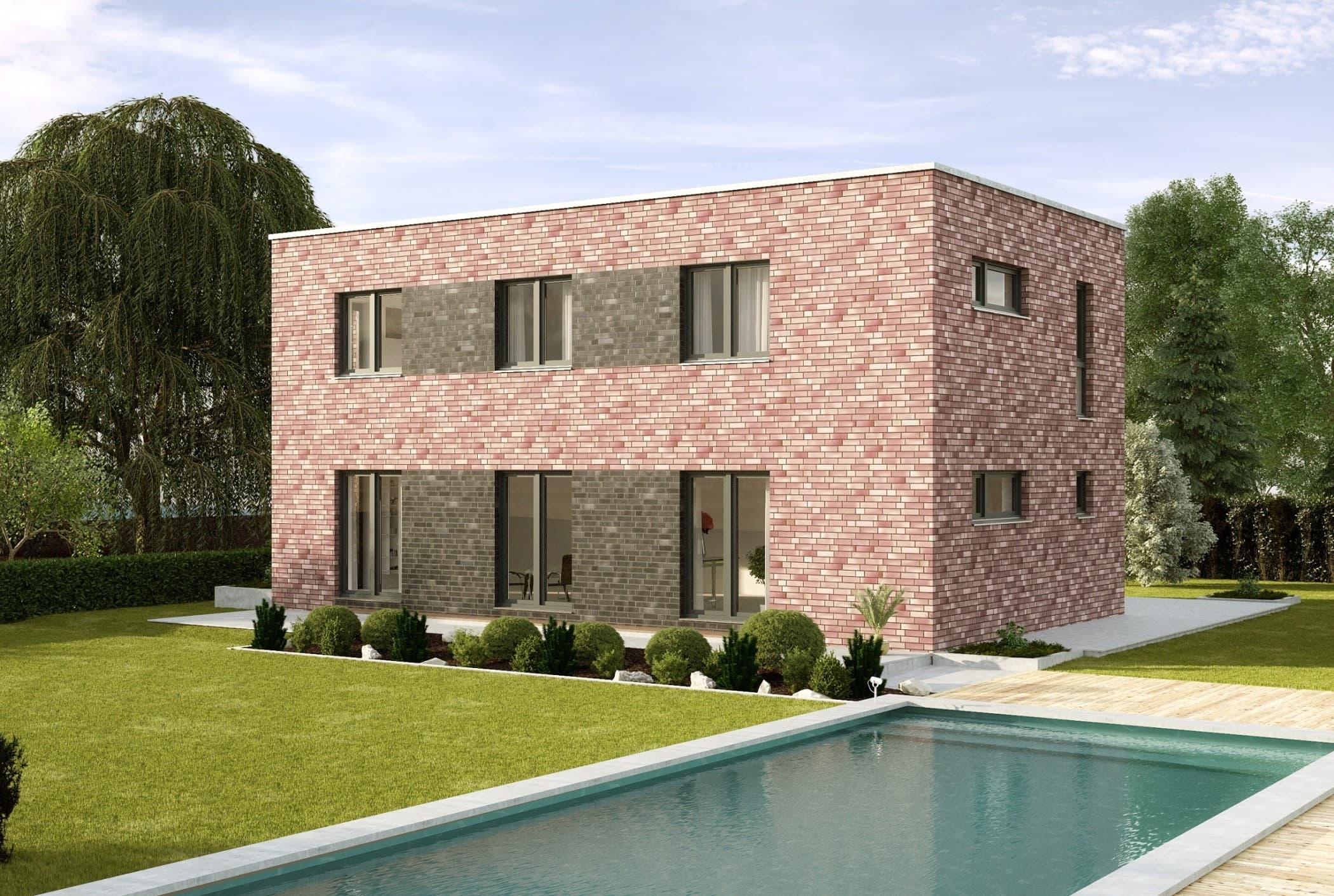 Moderne Fertighaus Stadtvilla schmal mit Flachdach Architektur & Klinker Fassade - Einfamilienhaus bauen Ideen Stadthaus Santa Monica von GUSSEK HAUS - HausbauDirekt.de