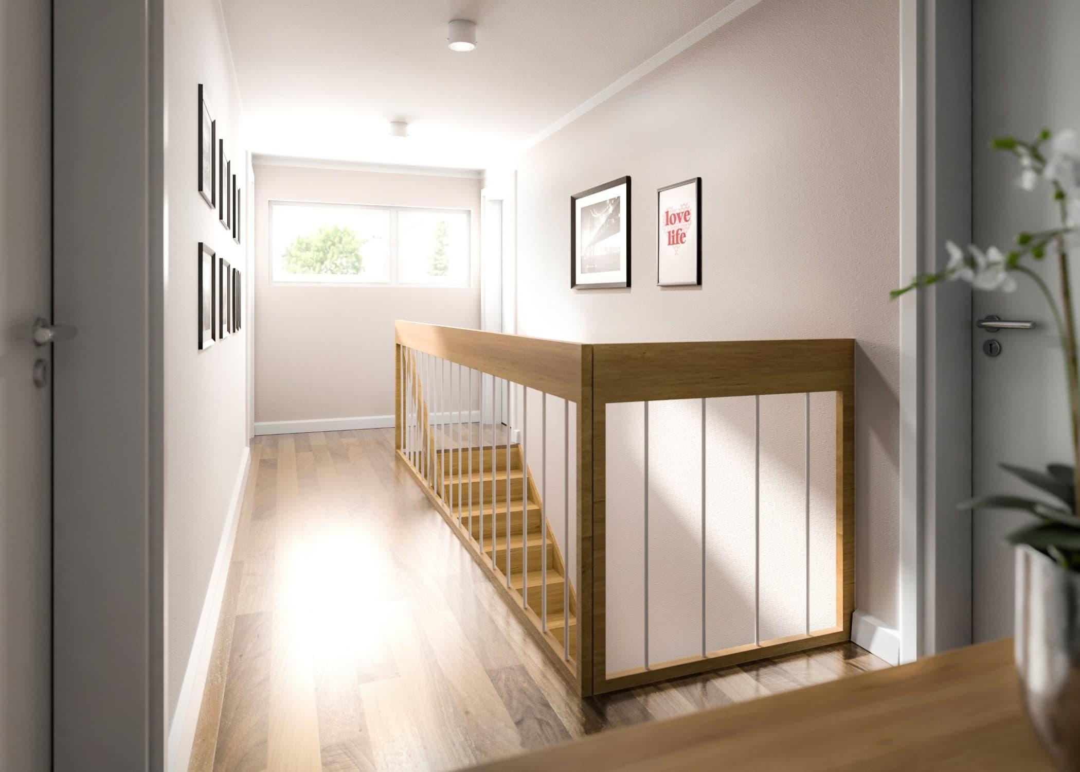 Flur Obergeschoss mit Treppe - Ideen Inneneinrichtung Doppelhaus AURA 136 von Town Country Haus - HausbauDirekt.de