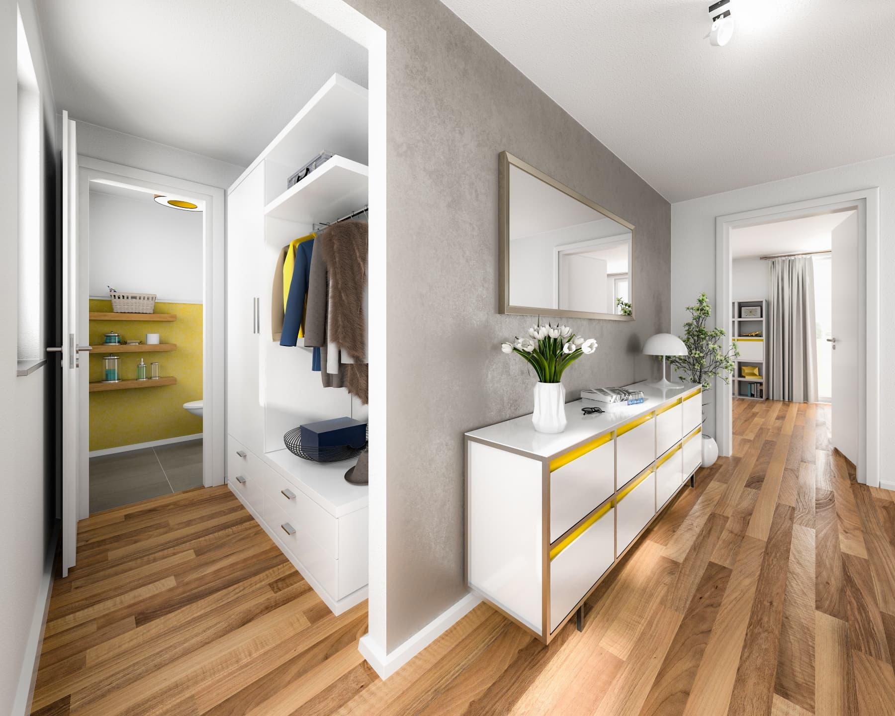 Flur Garderobe Eingangsbereich - Einfamilienhaus Inneneinrichtung Ideen Massivhaus Raumwunder 100 Süd von Town & Country Haus - HausbauDirekt.de