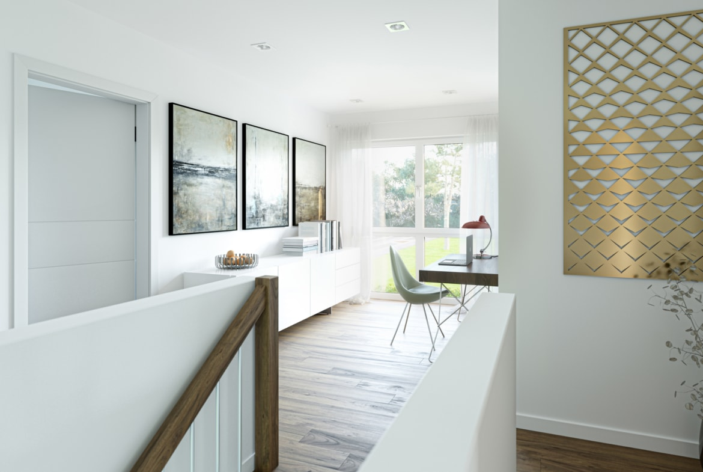 Galerie mit Treppe - Haus Design Stadtvilla innen Ideen Bien Zenker Fertighaus EDITION 134 V5 - HausbauDirekt.de