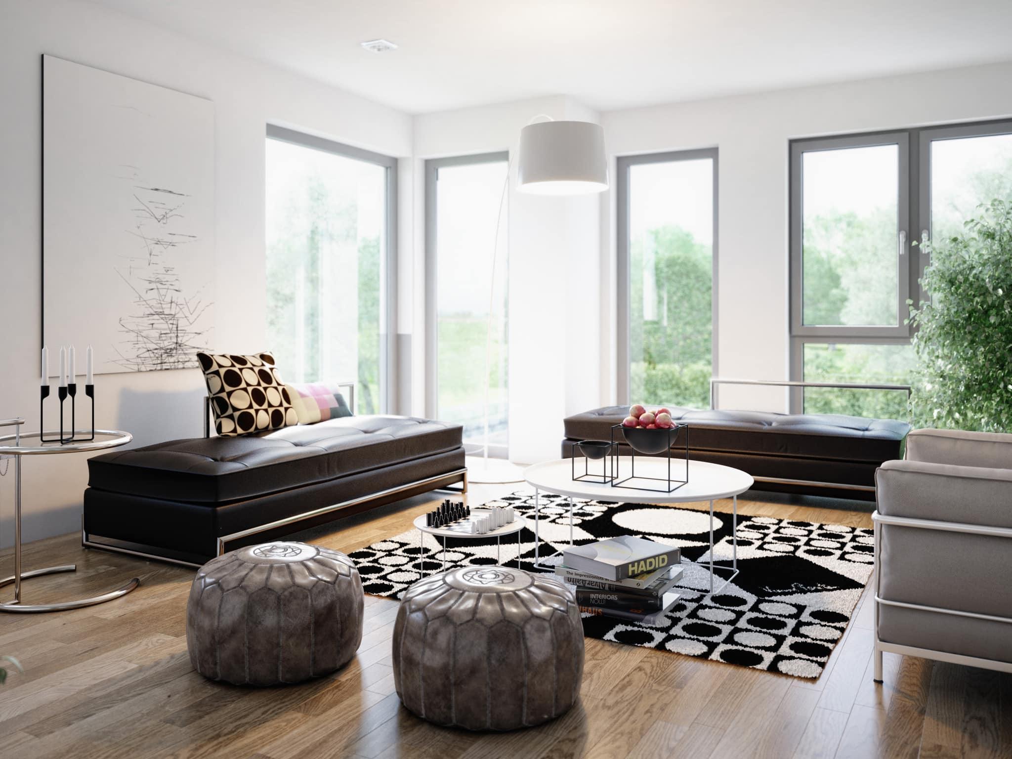 Wohnzimmer Ideen Galerie - Inneneinrichtung Fertighaus Stadtvilla Living Haus SUNSHINE 151 V6 - HausbauDirekt.de