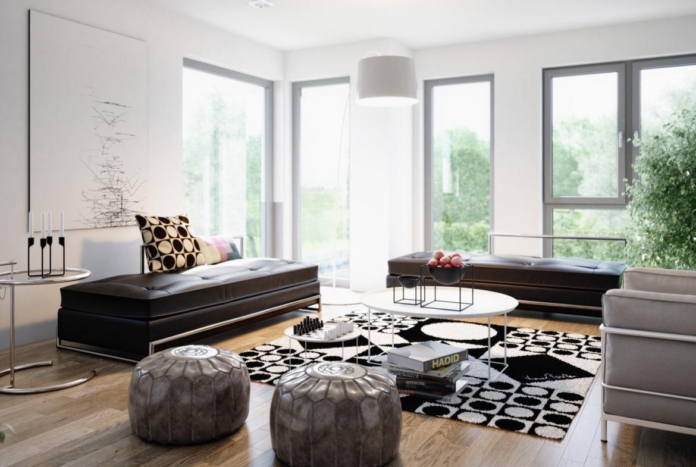 Wohnzimmer Ideen - Inneneinrichtung Fertighaus Stadtvilla Living Haus SUNSHINE 151 V8 - HausbauDirekt.de