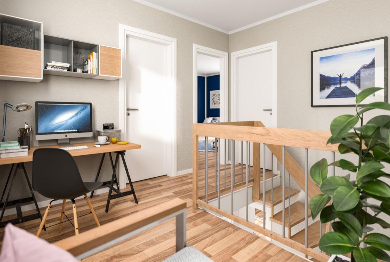 Treppe mit Galerie & Arbeitsplatz - Stadtvilla Inneneinrichtung Ideen STADTHAUS 100 Town & Country Haus - HausbauDirekt.de