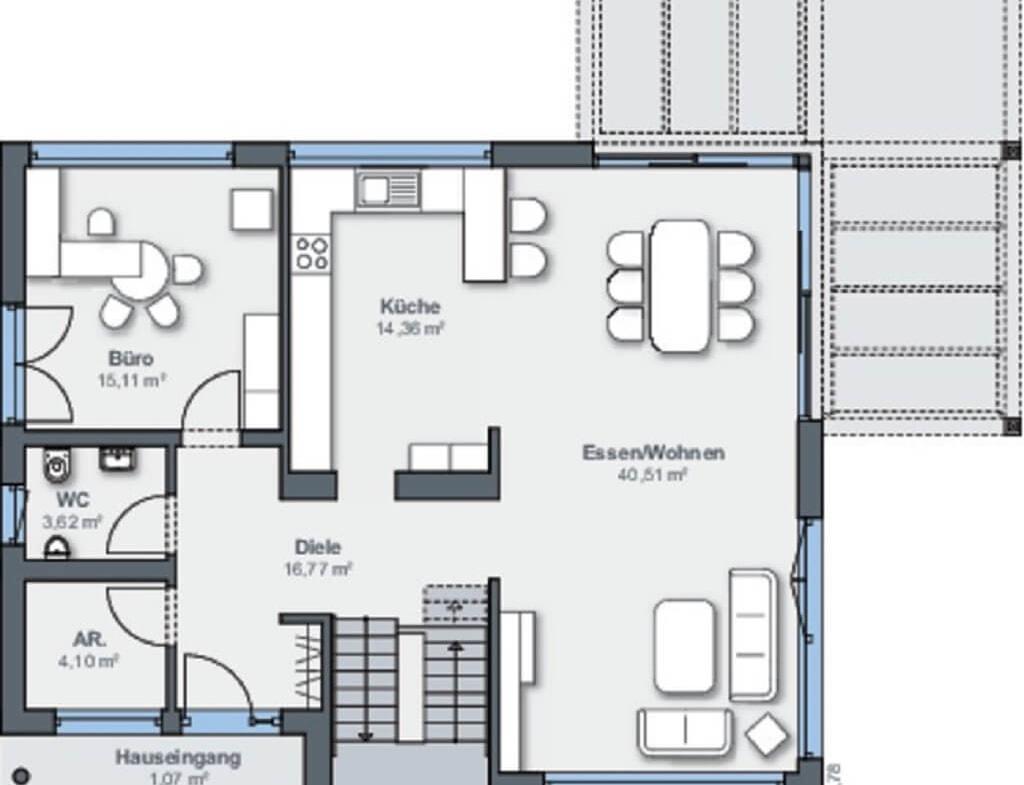 Einfamilienhaus Grundriss Erdgeschoss rechteckig - Haus bauen Design Ideen WeberHaus Fertighaus Generation 5.5 Haus 300 - HausbauDirekt.de
