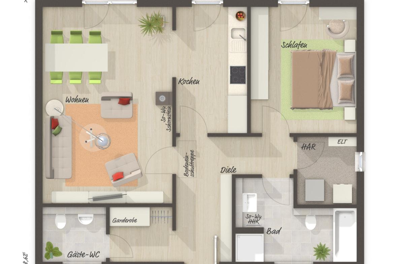 Grundriss Bungalow ebenerdig, 2 Zimmer, 77 qm - Massivhaus schlüsselfertig bauen Ideen Town Country Haus BUNGALOW 78 trend - HausbauDirekt.de
