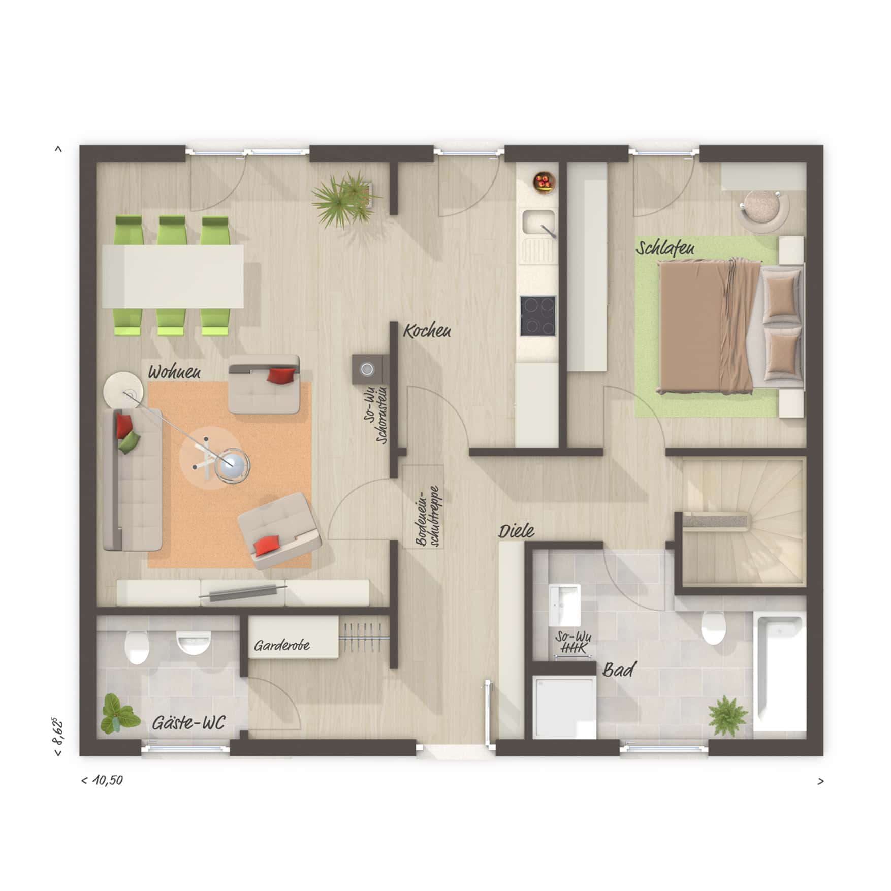 Grundriss Bungalow mit Keller, 2 Zimmer, 77 qm - Massivhaus schlüsselfertig bauen Ideen Town Country Haus BUNGALOW 78 trend - HausbauDirekt.de