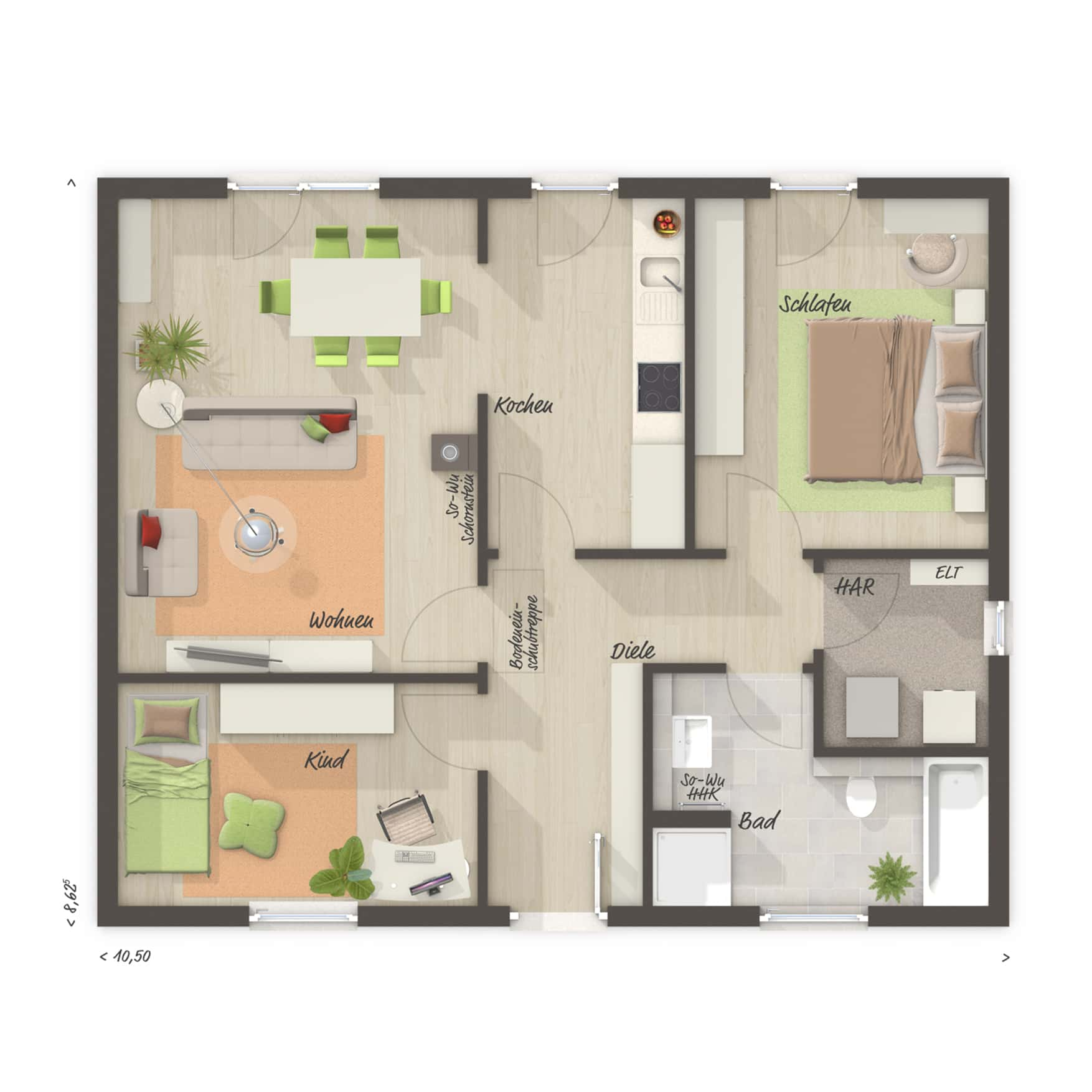 Grundriss Bungalow barrierefrei, 3 Zimmer, 77 qm - Massivhaus schlüsselfertig bauen Ideen Town Country Haus BUNGALOW 78 trend - HausbauDirekt.de