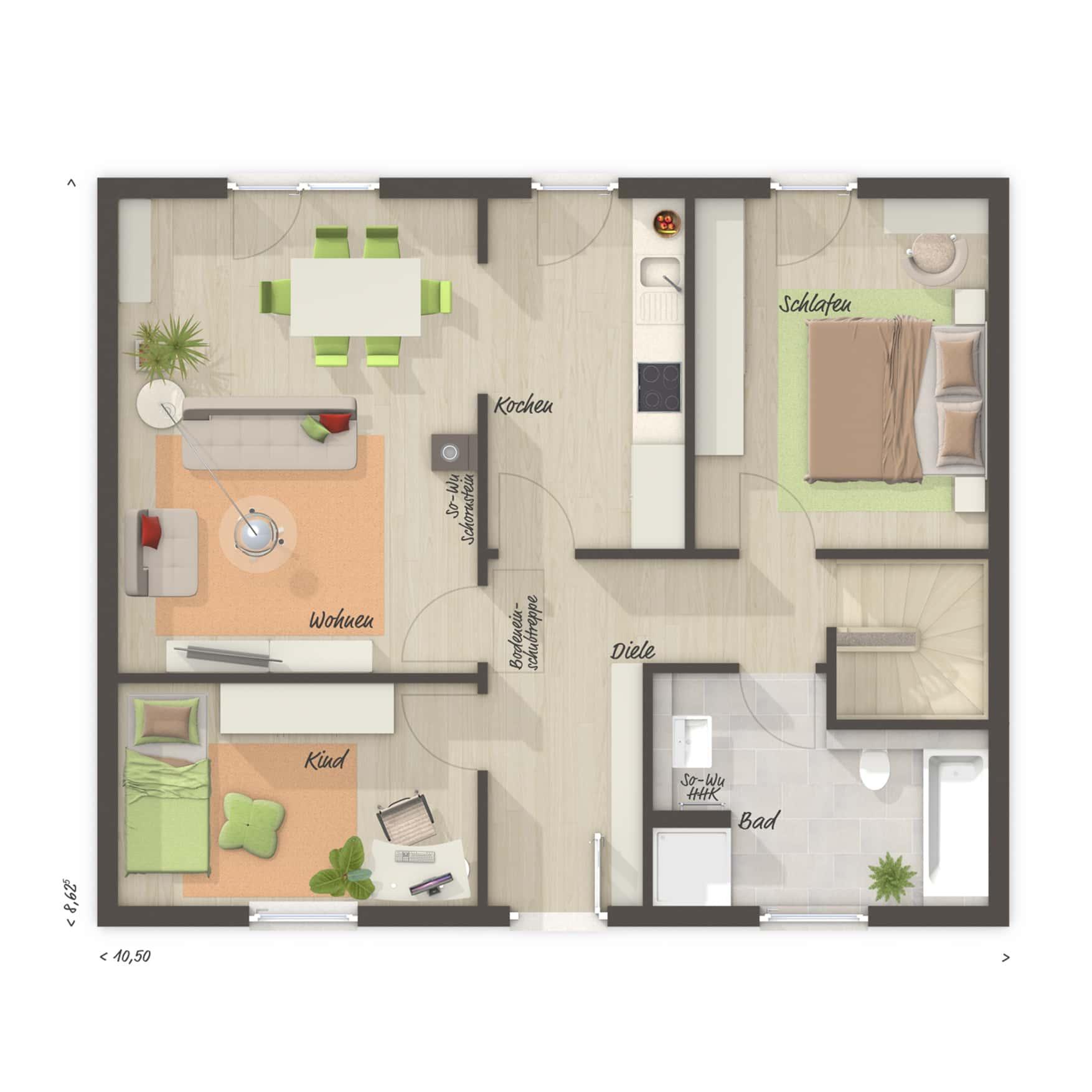 Grundriss Bungalow mit Keller, 3 Zimmer, 77 qm - Massivhaus schlüsselfertig bauen Ideen Town Country Haus BUNGALOW 78 trend - HausbauDirekt.de