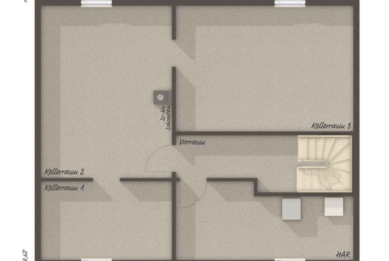 Grundriss Bungalow mit Keller - Massivhaus schlüsselfertig bauen Ideen Town Country Haus BUNGALOW 78 trend - HausbauDirekt.de
