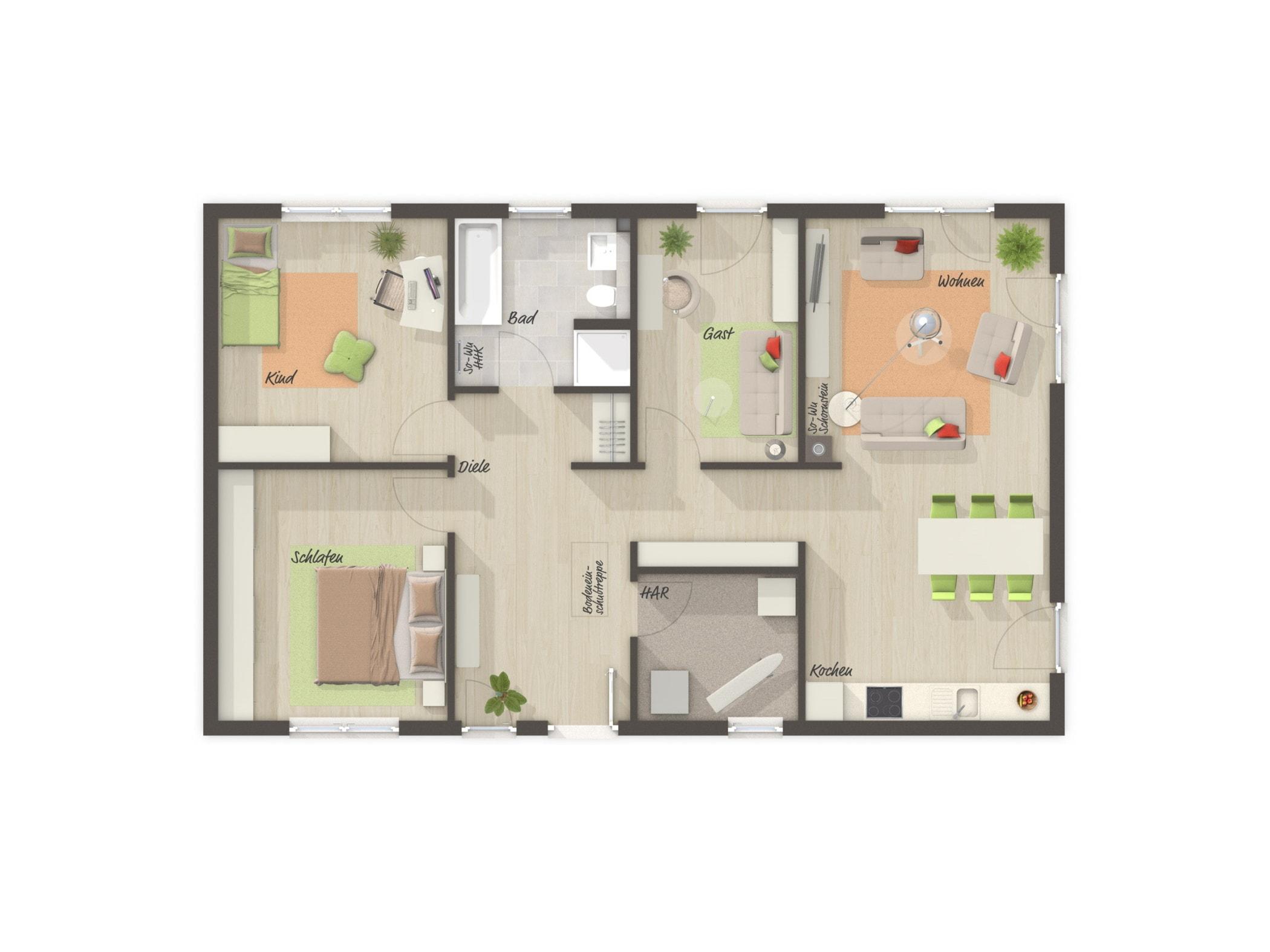 Bungalow Grundriss rechteckig mit Satteldach, 4 Zimmer, 100 qm - Massivhaus schlüsselfertig bauen Ideen Town Country Haus BUNGALOW 100 - HausbauDirekt.de