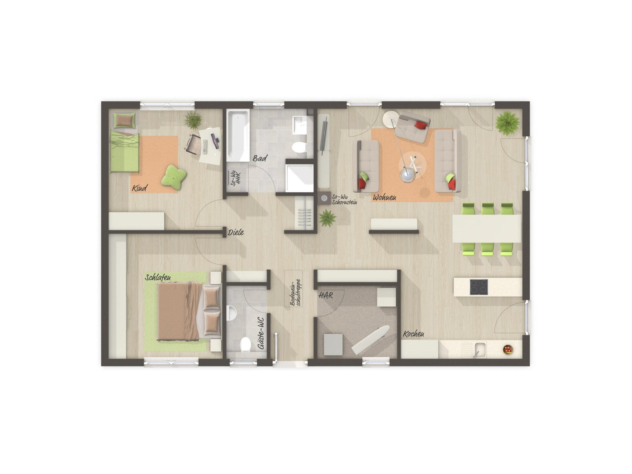 Bungalow Haus Grundriss mit Gäste-WC & Satteldach, 3 Zimmer, 100 qm - Massivhaus schlüsselfertig bauen Ideen Town Country Haus BUNGALOW 100 - HausbauDirekt.de