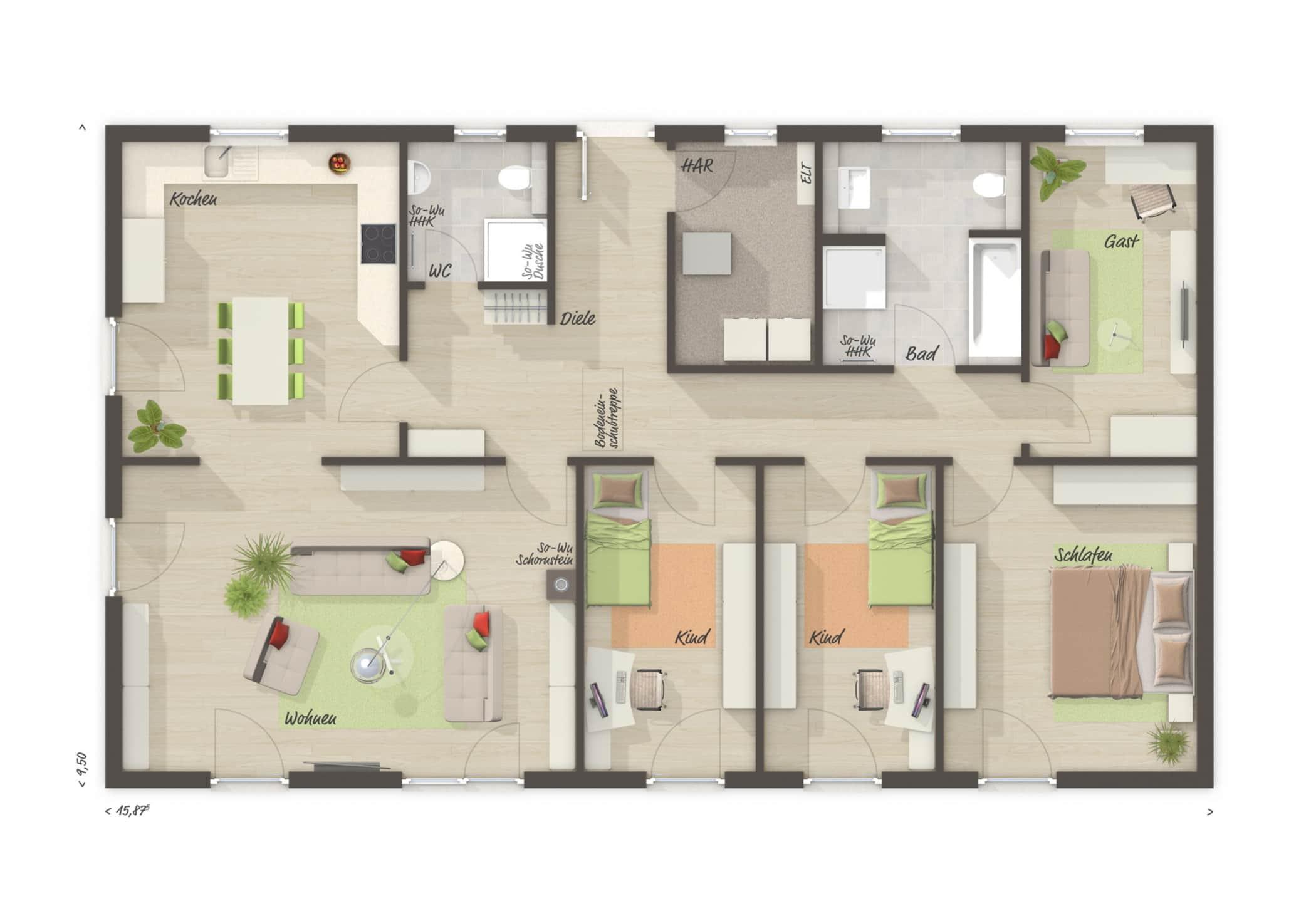 Bungalow Haus Grundriss rechteckig, 5 Zimmer, 130 qm - Massivhaus bauen Ideen Town Country Haus Bungalow 131 - HausbauDirekt.de