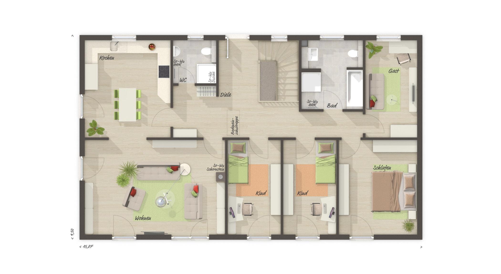 Grundriss Bungalow rechteckig mit Keller, 5 Zimmer, 130 qm - Massivhaus bauen Ideen Town Country Haus Bungalow 131 - HausbauDirekt.de