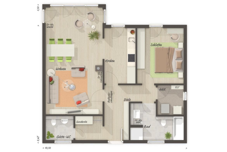 Grundriss Bungalow ebenerdig mit Erker, 2 Zimmer, Walmdach - Haus bauen Ideen Town Country Massivhaus Bungalow 78 - HausbauDirekt.de