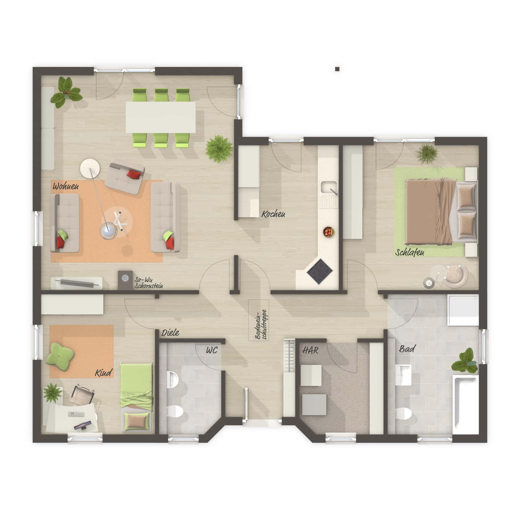 Grundriss Bungalow 3 Zimmer, 108 qm - Massivhaus Winkelbungalow 108 Town Country Haus - HausbauDirekt.de