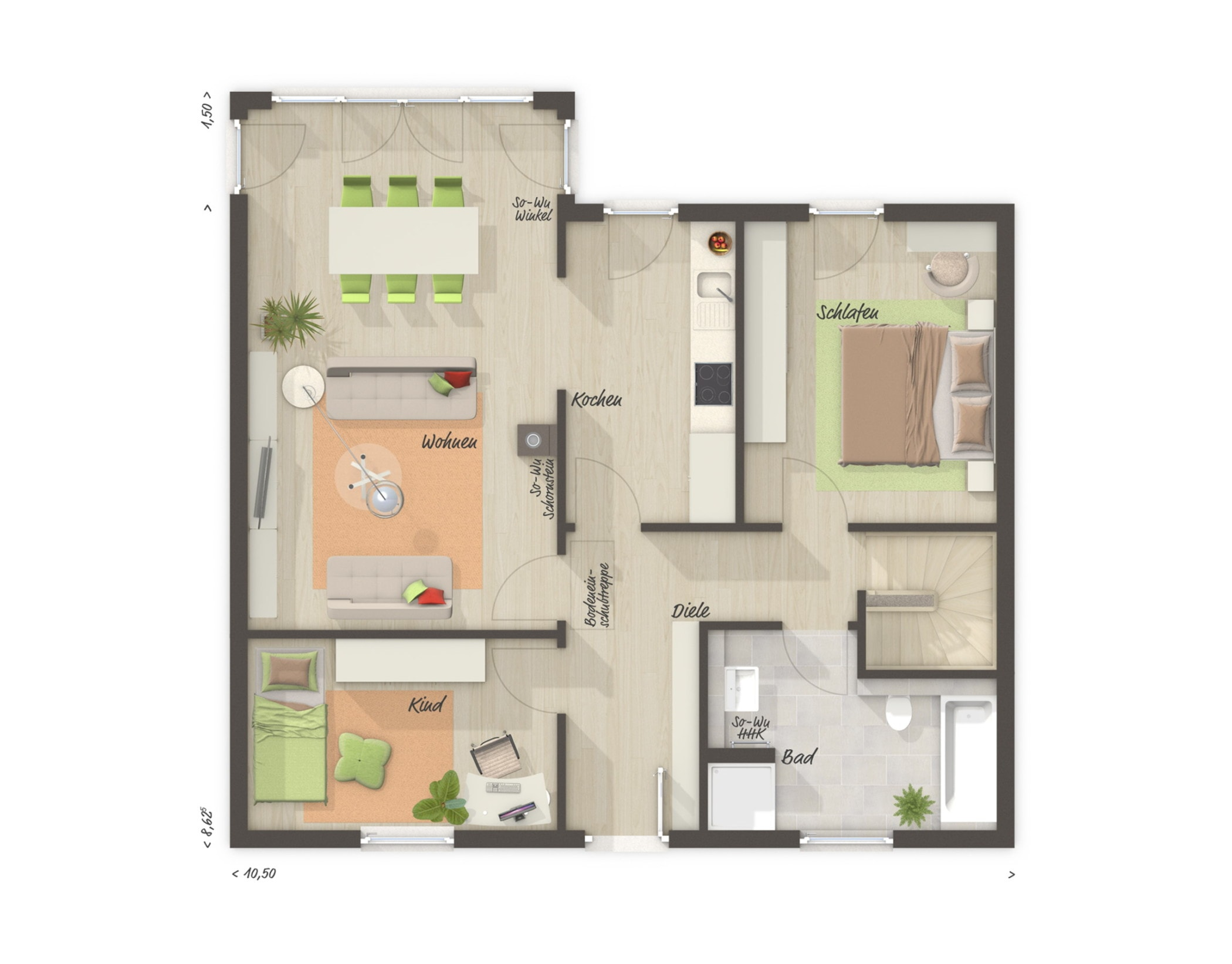 Bungalow Haus Grundriss mit Keller & Erker, 3 Zimmer, 77 qm - Massivhaus bauen Ideen Town Country Haus Bungalow 78 - HausbauDirekt.de