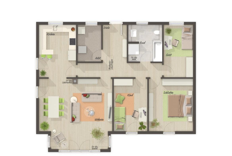 Bungalow Haus Grundriss mit Erker & Walmdach Architektur, 4 Zimmer, 108 qm - Haus Pläne Bungalow 110 von Town Country Haus - HausbauDirekt.de