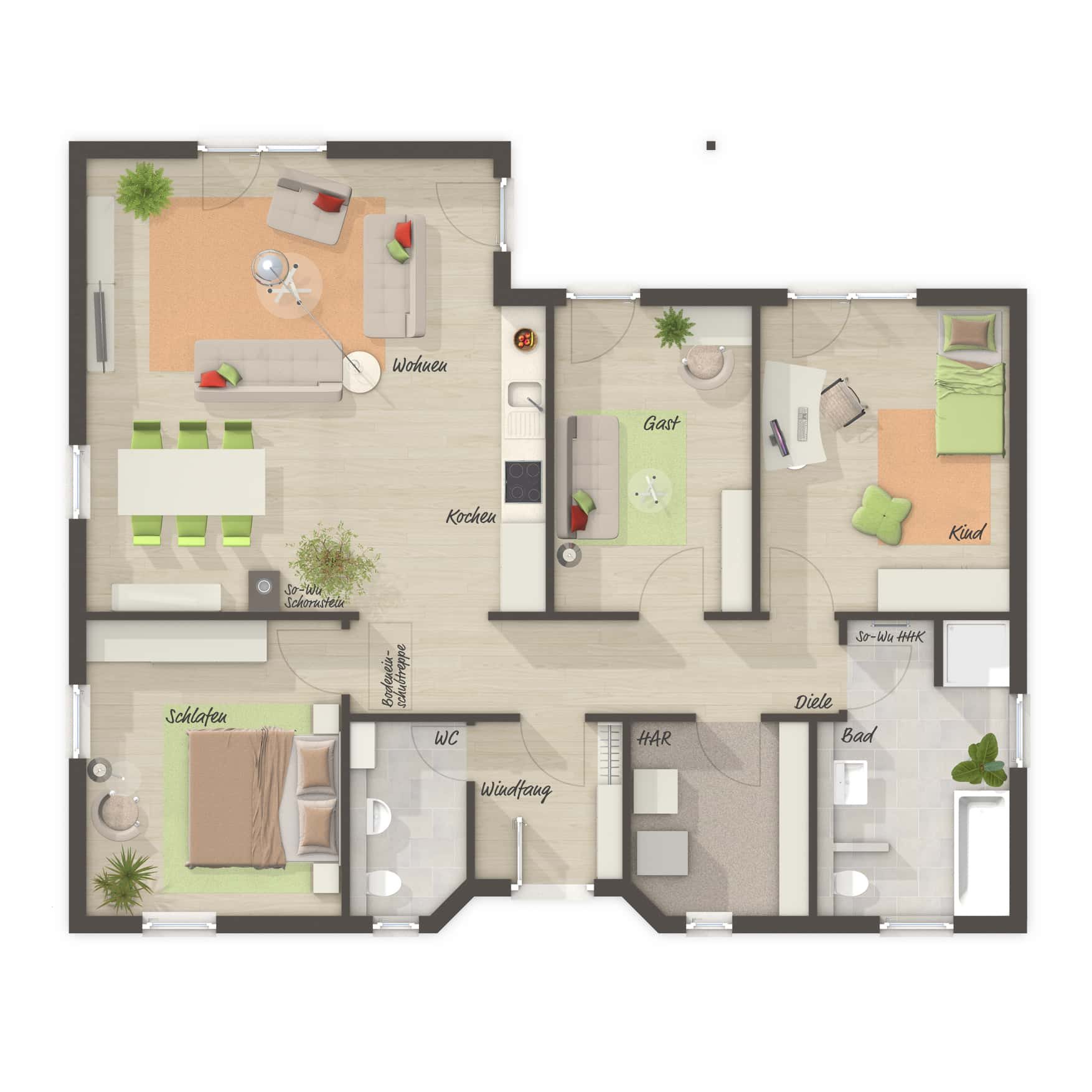 Grundriss Bungalow ebenerdig, 4 Zimmer, 108 qm, Küche offen - Massivhaus Winkelbungalow 108 Town Country Haus - HausbauDirekt.de