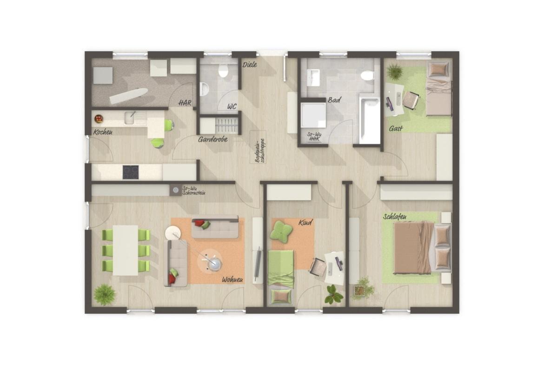 Bungalow Haus Grundriss rechteckig mit separater Küche & Walmdach, 4 Zimmer, 108 qm - Haus Pläne Bungalow 110 von Town Country Haus - HausbauDirekt.de