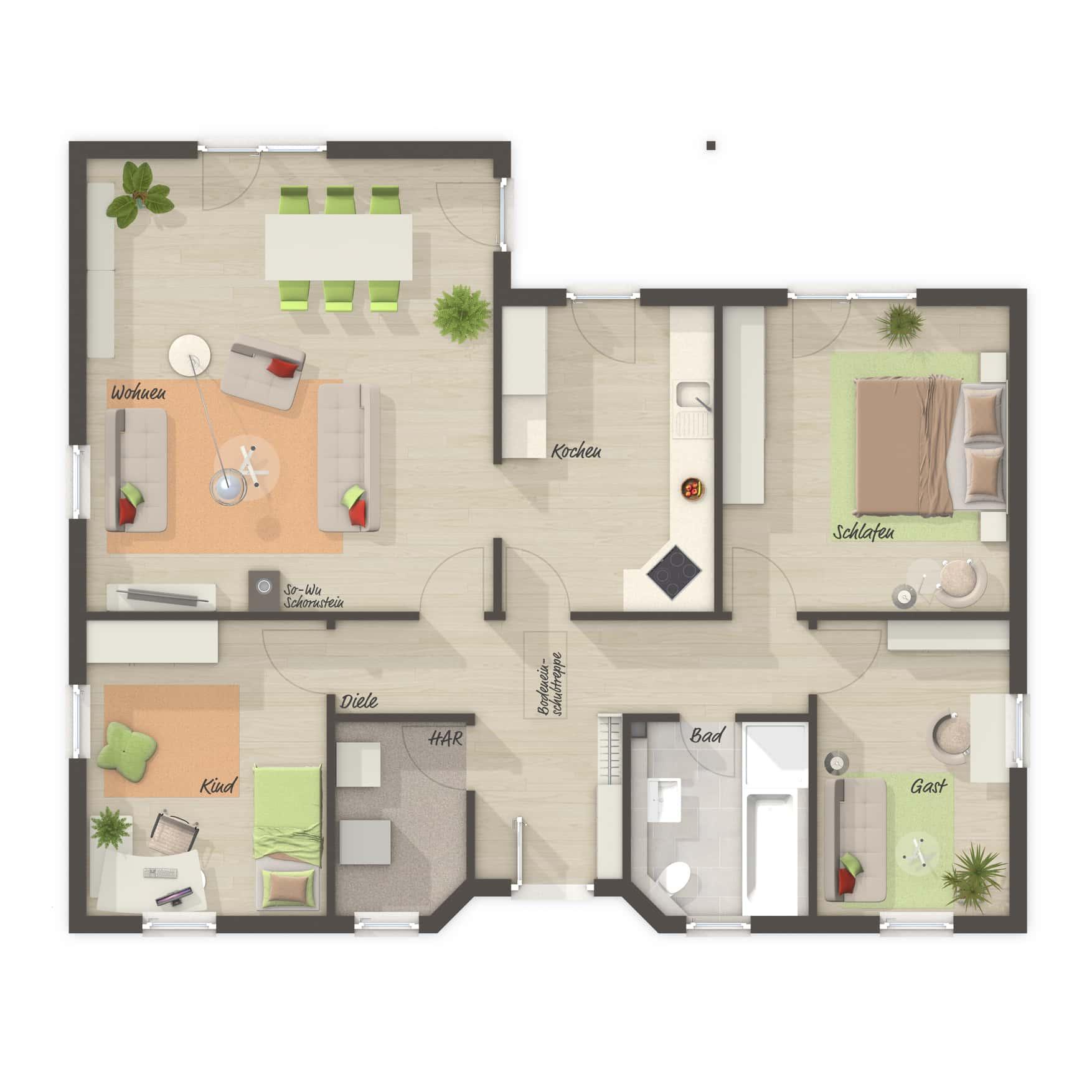 Grundriss Bungalow 4 Zimmer, 108 qm - Massivhaus Winkelbungalow 108 Town Country Haus - HausbauDirekt.de