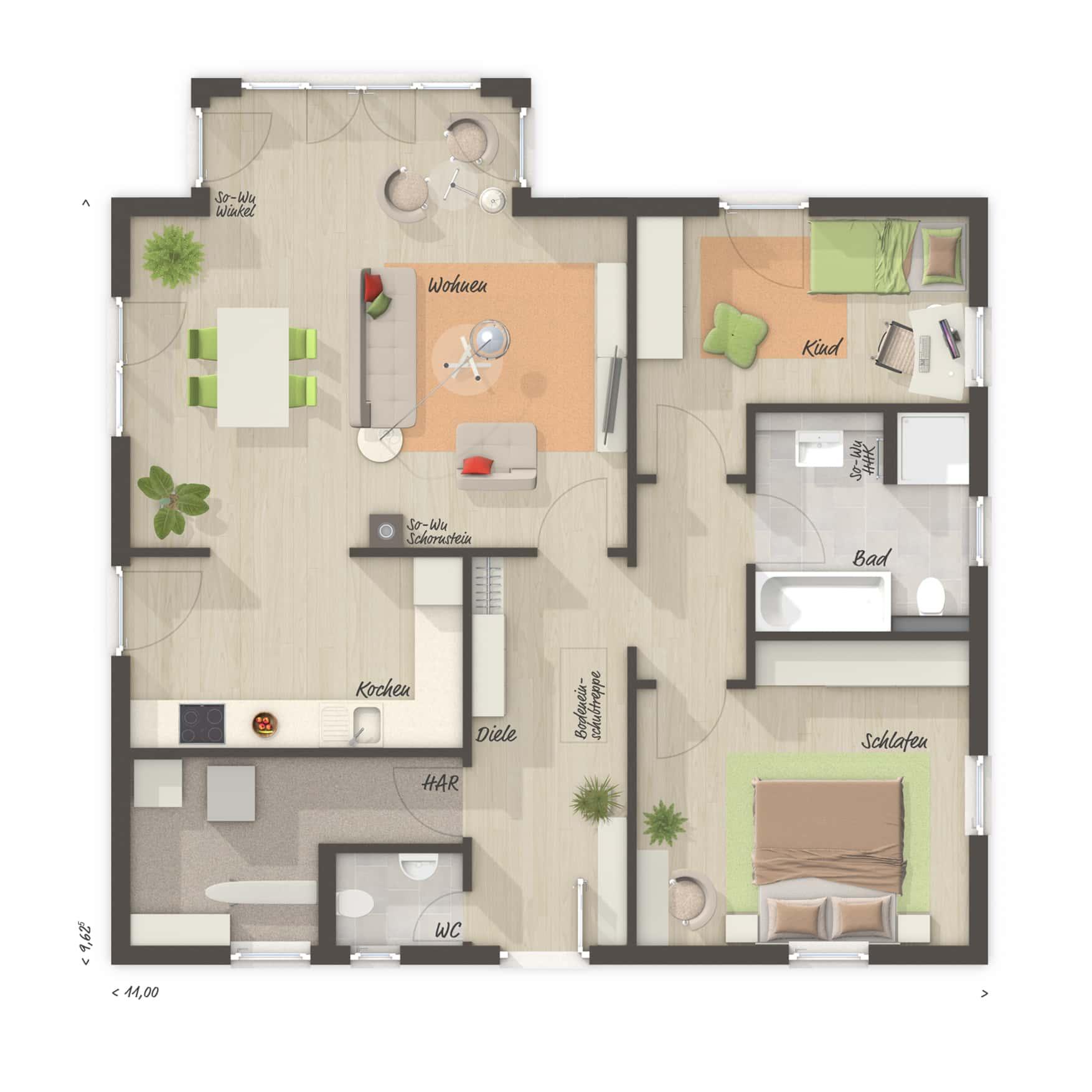 Bungalow Haus Grundriss 3 Zimmer, 90 qm mit Gäste-WC & Walmdach - Massivhaus bauen Ideen Town Country Haus Bungalow 92 - HausbauDirekt.de