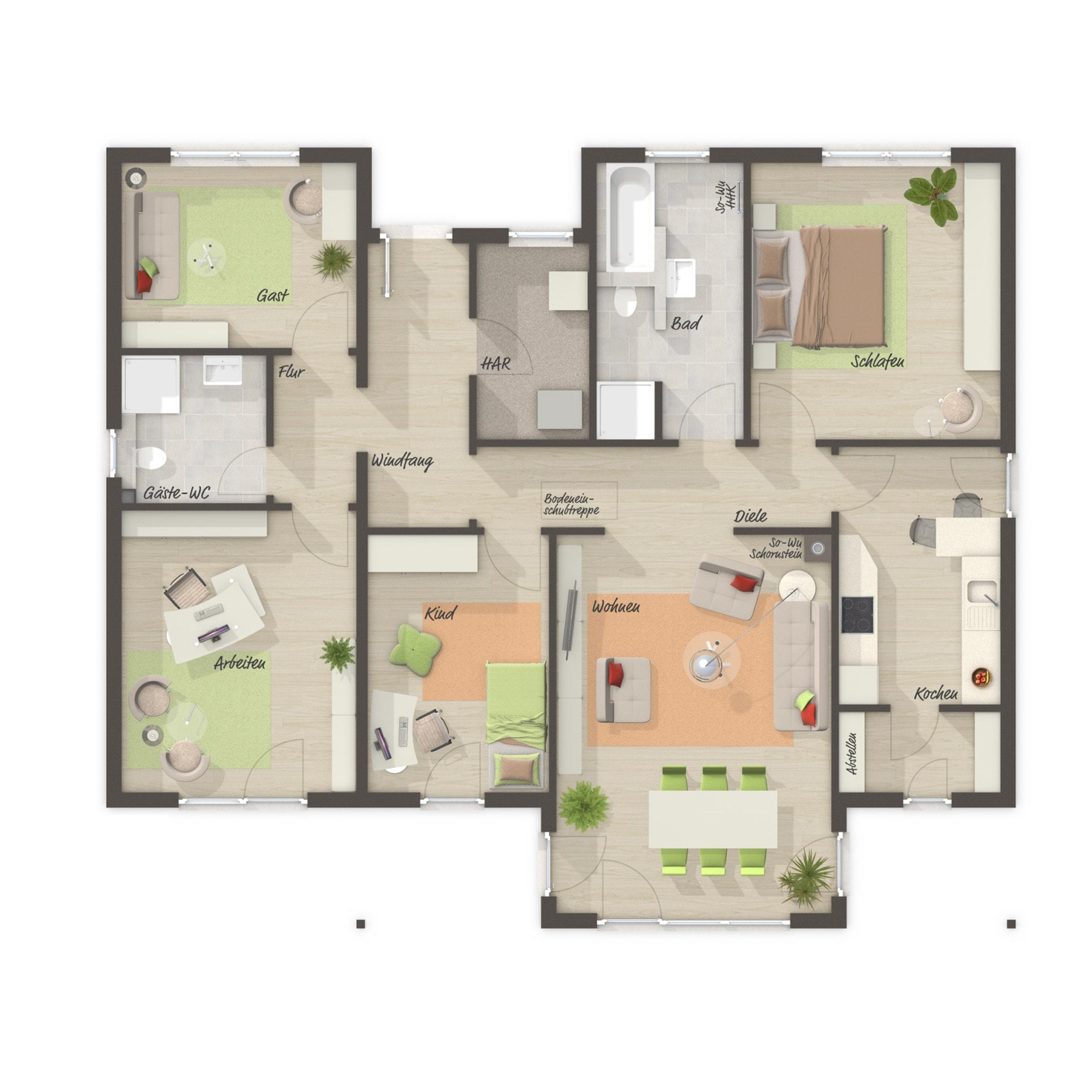 Grundriss Bungalow Haus mit Walmdach, 5 Zimmer, 130 qm - Massivhaus schlüsselfertig bauen BUNGALOW 128 von Town & Country Haus - HausbauDirekt.de