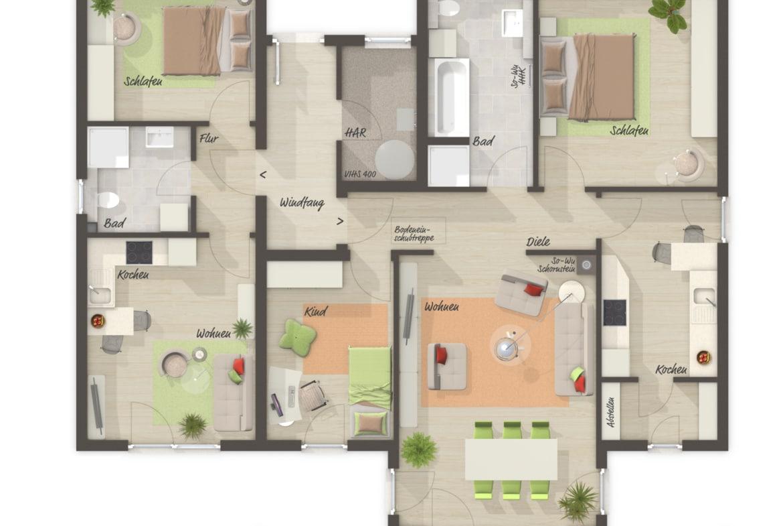 Grundriss Bungalow Haus mit Einliegerwohnung & Walmdach Architektur - Massivhaus schlüsselfertig bauen BUNGALOW 128 von Town & Country Haus - HausbauDirekt.de