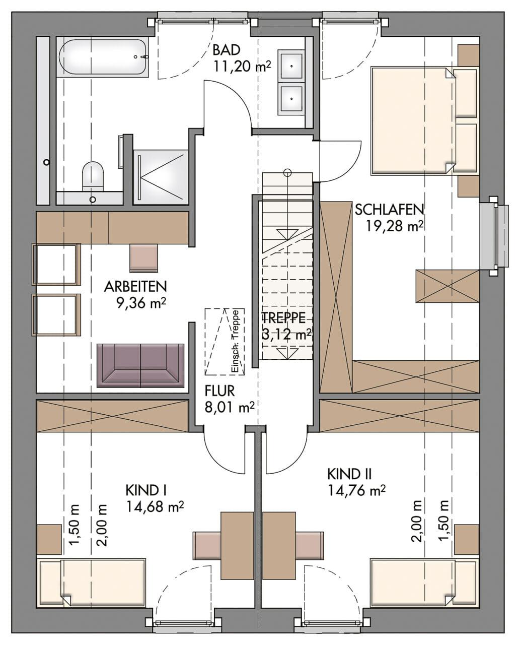 Einfamilienhaus Grundriss Obergeschoss mit Satteldach & gerade Treppe mittig - Haus Design Ideen Massivhaus Vario-Haus 160 von ECO System HAUS - HausbauDirekt.de