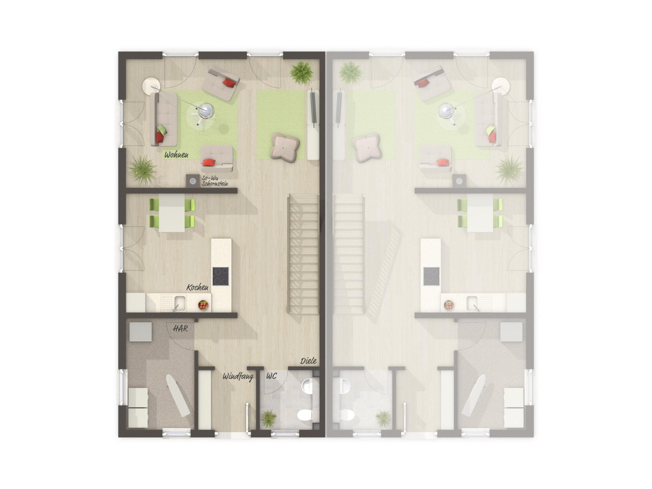 Doppelhaus Grundriss EG schmal & Treppe gerade, 4 Zimmer, 125 qm - Massivhaus bauen Ideen Town Country Haus Aura 125 - HausbauDirekt.de