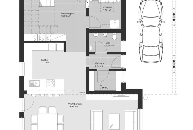 Einfamilienhaus Grundriss Erdgeschoss modern offen mit Carport, 5 Zimmer, 160 qm - Haus Design Ideen Skizze Fertighaus ELK Haus 164 - HausbauDirekt.de