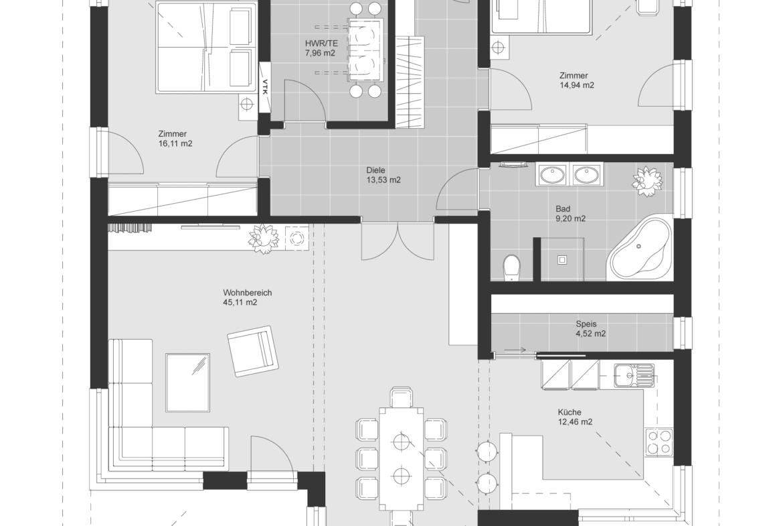 Grundriss Bungalow ebenerdig mit Walmdach oder Flachdach, 3 Zimmer, 150 qm - Fertighaus bauen Ideen ELK Haus Bungalow 125 - HausbauDirekt.de
