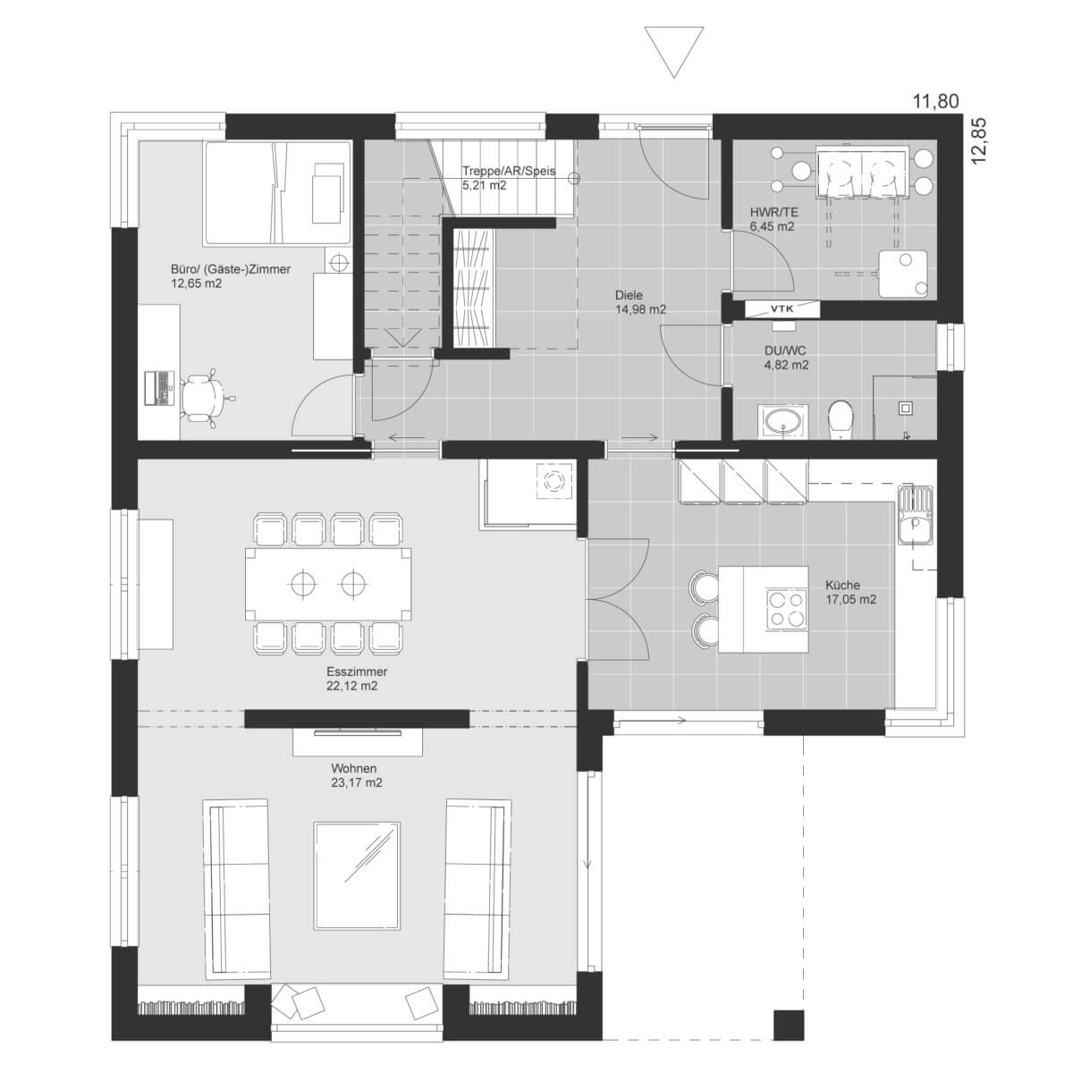 Einfamilienhaus Grundriss Erdgeschoss mit Erker - Haus Design Ideen Fertighaus ELK Haus 186 - HausbauDirekt.de