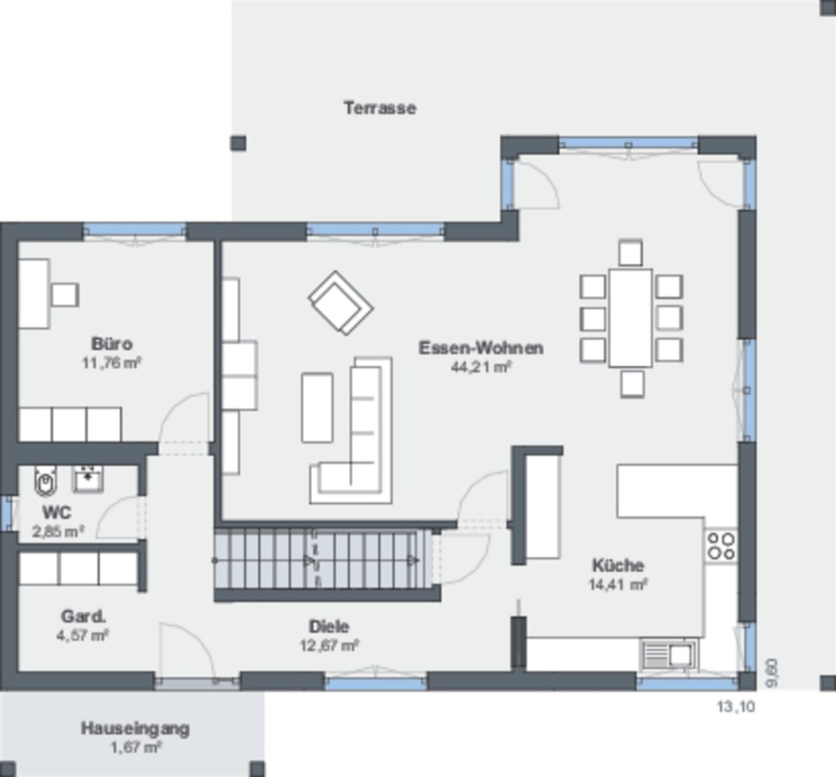 Einfamilienhaus Grundriss Erdgeschoss Treppe gerade - Haus bauen Design Ideen WeberHaus Fertighaus Sunshine 310 - HausbauDirekt.de