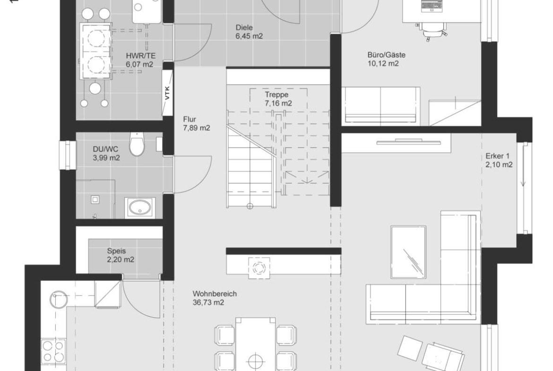 Grundriss Stadtvilla modern Erdgeschoss mit Erker - Einfamilienhaus bauen Ideen Fertighaus ELK Haus 161 - HausbauDirekt.de
